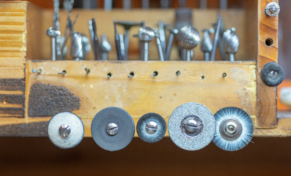 An array of jewelry tools on the work bench at Marc Howard Custom Jewelry Design in Santa Fe, NM