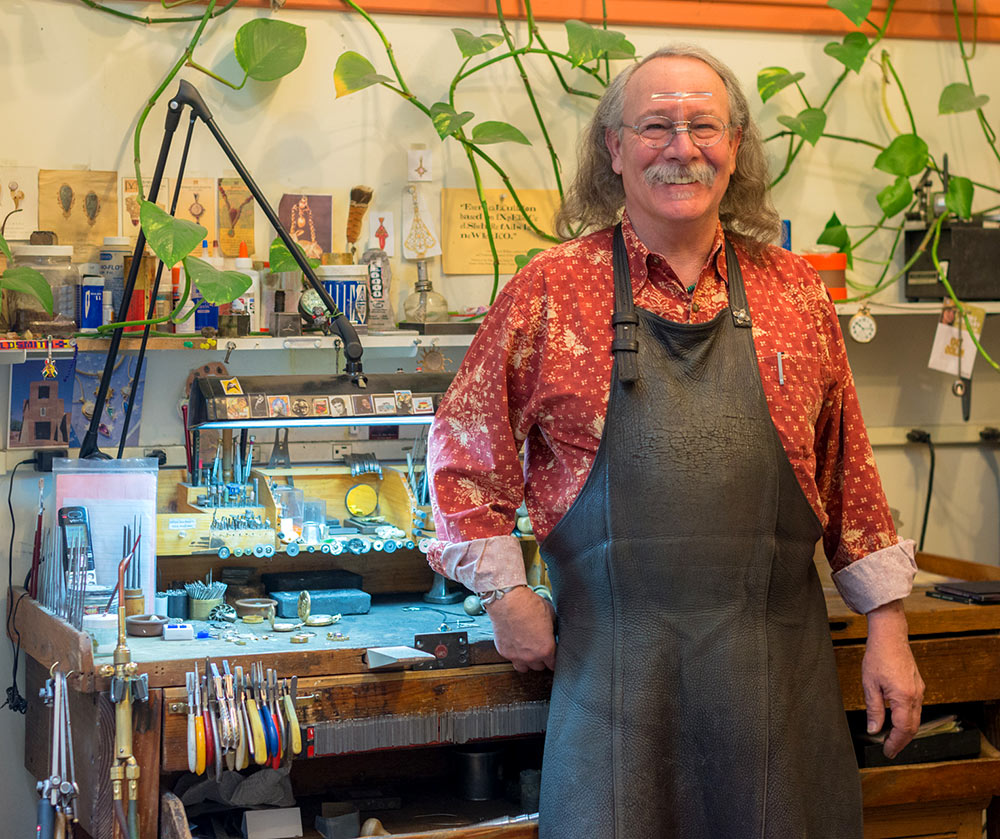 Photo of Mark Howard, Goldsmith at his jewelry design studio in Santa Fe, NM
