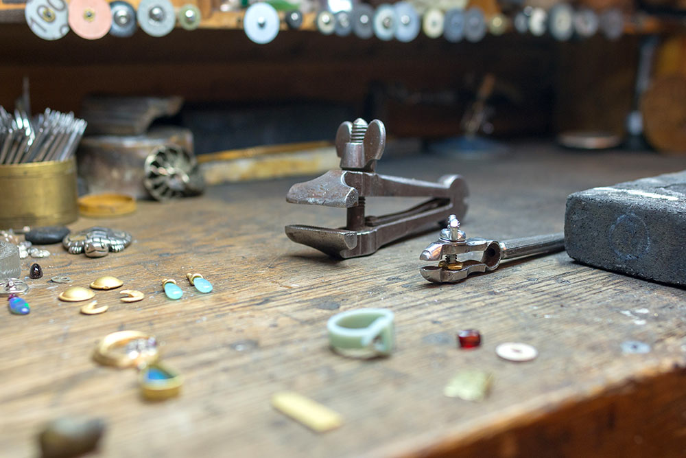 Jewelry tools on the work bench at Marc Howard Custom Jewelry Design, Santa Fe, NM