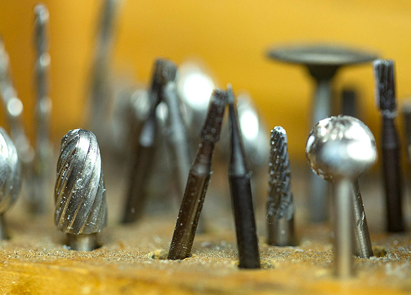Close-up of jewelry tools on the work bench at Marc Howard Custom Jewelry Design in Santa Fe, NM