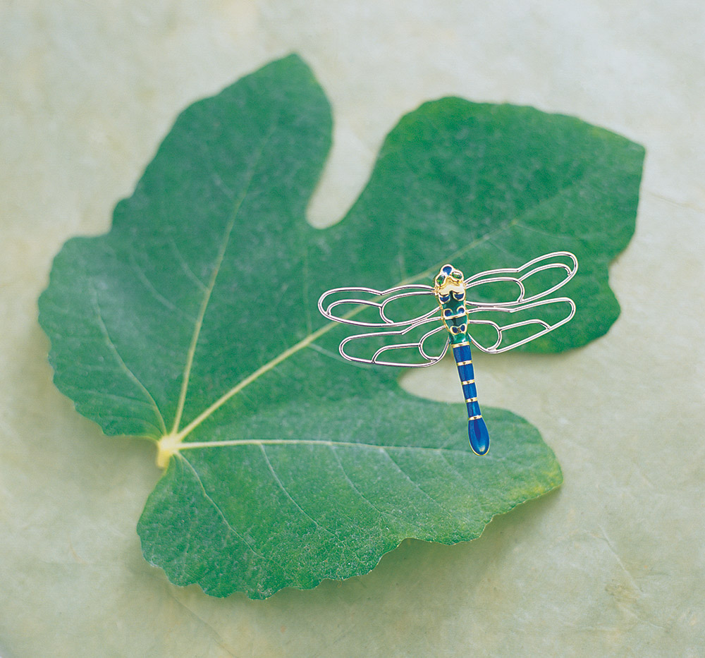Custom designed dragonfly pin by Marc Howard Custom Jewelry Design in Santa Fe, New Mexico