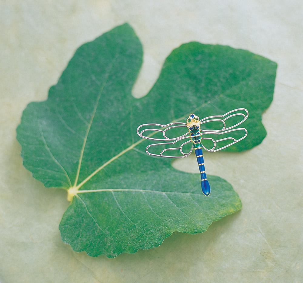 Custom designed dragonfly pin by Marc Howard Custom Jewelry Design in Santa Fe, New Mexico