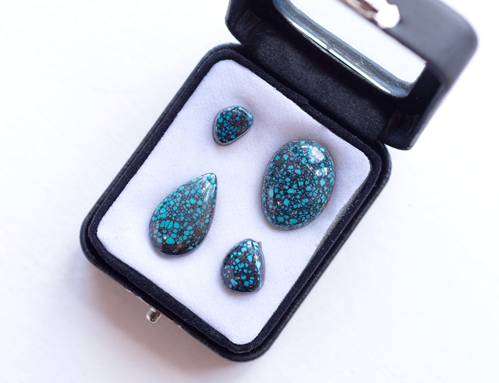 Turquoise stones for sale at Marc Howard Custom Jewelry Design in Santa Fe, NM