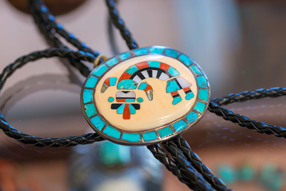 Traditional Native American bolo, part of the Estate Jewelry Collection at Marc Howard Custom Jewelry Design, Santa Fe, NM