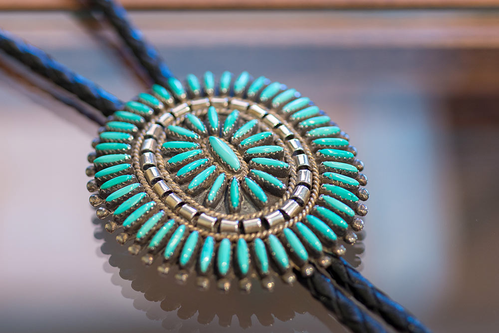 Close-up of Native American bolo, part of the Estate Jewelry Collection at Marc Howard Custom Jewelry Design, Santa Fe, NM