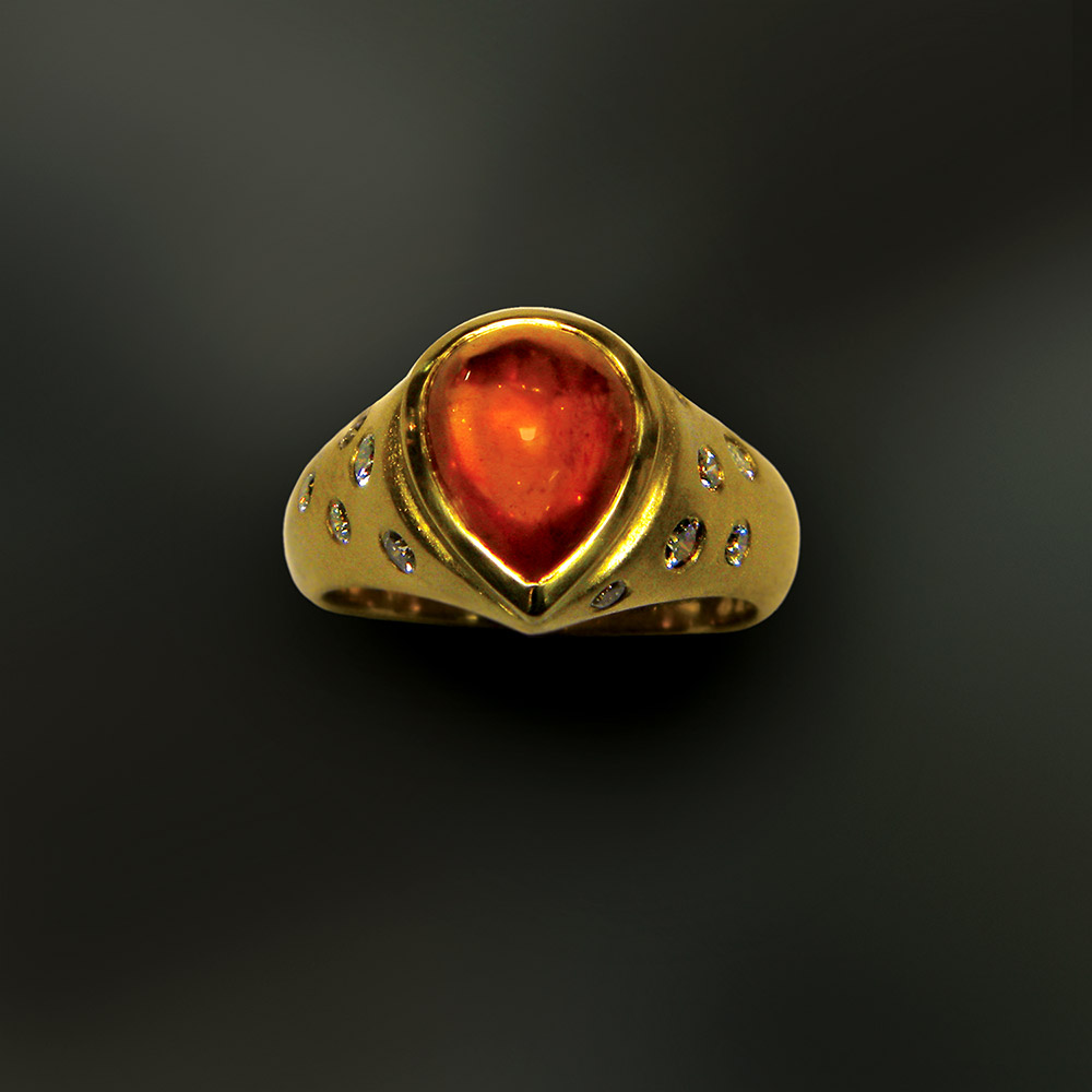 Gold ring at Marc Howard Custom Jewelry Design studio in Santa Fe, New Mexico