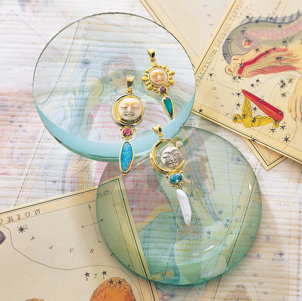 Moon pendants at Marc Howard Custom Jewelry Design in Santa Fe, New Mexico