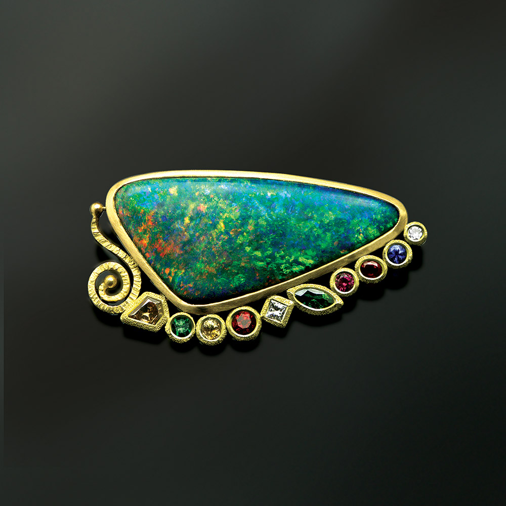 Opal pendant at Marc Howard Custom Jewelry Design studio in Santa Fe, New Mexico