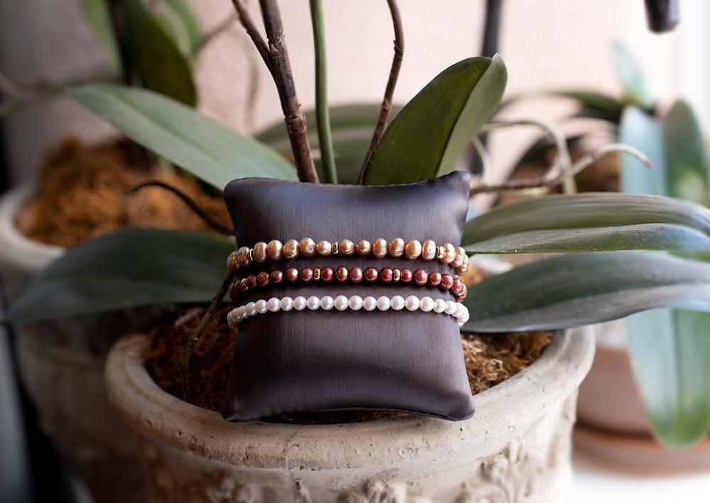 Custom designed pearl necklaces for sale at Marc Howard Custom Jewelry Design in Santa Fe, NM