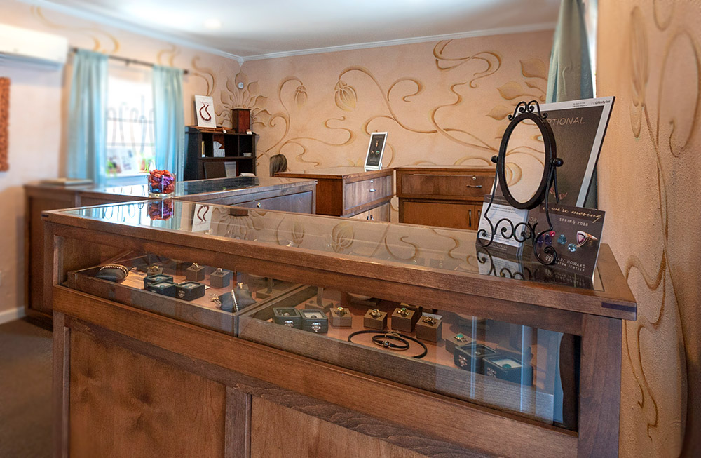 Photo of showroom at Marc Howard Custom Jewelry Design studio in Santa Fe, NM