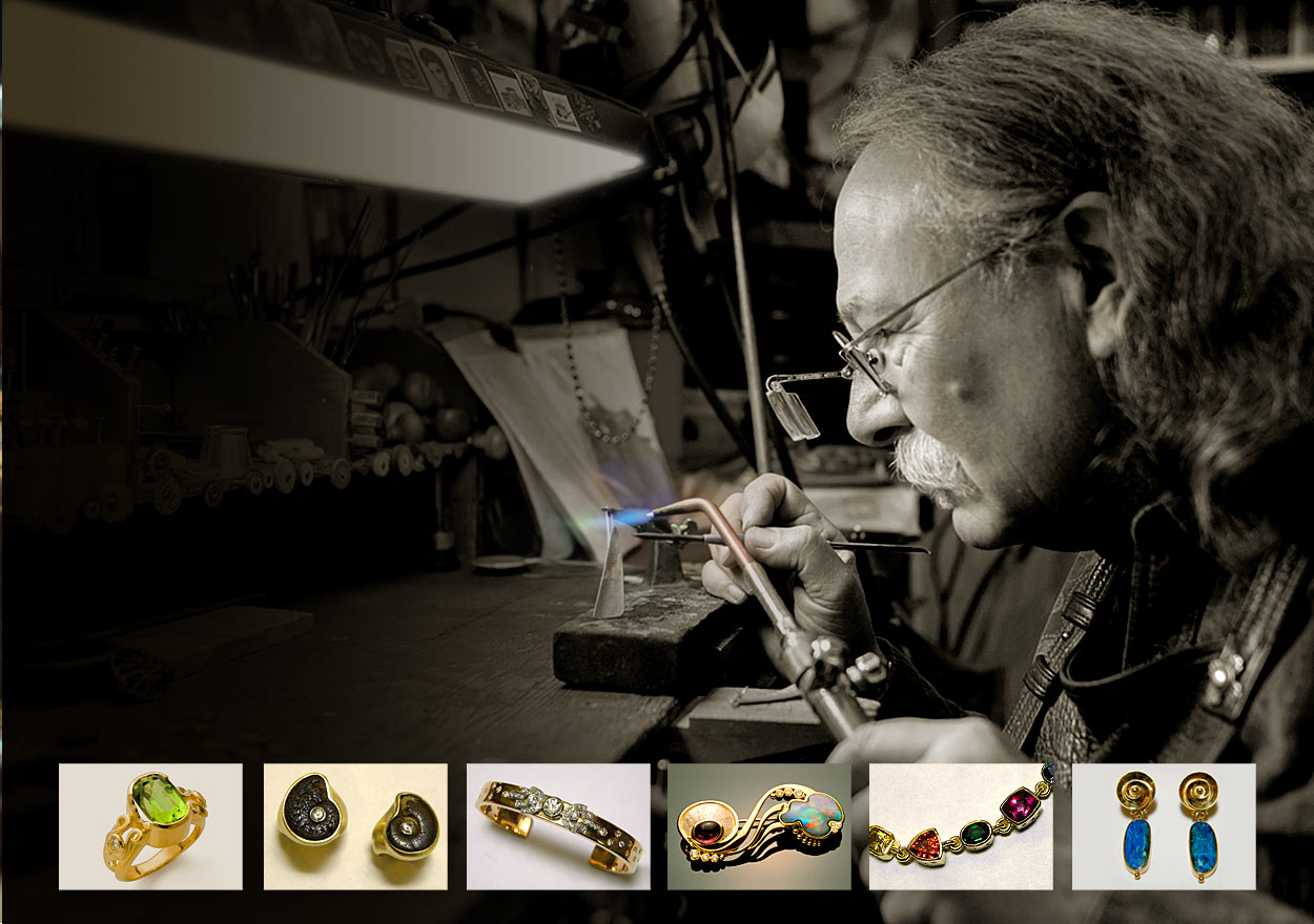 Mark Howard, Goldsmith at Marc Howard Custom Jewelry Design studio in Santa Fe, NM
